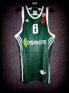 2009 European Triple Crown Panathinaikos Athens Vassilis Spanoulis Jersey - Front