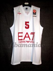 2014/2015 Euroleague Olimpia Milan Alessandro Gentile White Jersey - Front