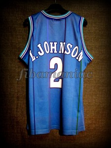 1992 NBA Rookie Of the Year Charlotte Hornets Larry Johnson Jersey - Back