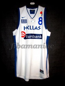 2005 Eurobasket Champions Greece Panagiotis Vasilopoulos Jersey Front - MW