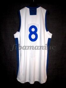2005 Eurobasket Champions Greece Panagiotis Vasilopoulos Jersey Back - MW