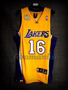 2007/2008 60th Team Anniversary Los Angeles Lakers Pau Gasol Jersey - Front