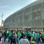 Outside the arena. Well really it's a football stadium