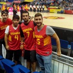 In the process I meet to Javier who he wore a Pau Gasol jersey like me. So I had to comment him the anecdote. Casually we were seated near in the new placement so we started to talk and also with his friends Diego and Hugo. We enjoyed the rest of the group together. This is a picture before the Spain VS Iceland game. Really nice to meet you guys!