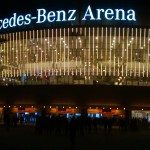 The Mercedes-Benz Arena at night
