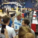 "This is Ragnar. The reserve center of Iceland. The crowd laughed of his basketball skills ... so this was his moment of glory. I asked him his jersey ... He said me ""we talk in the last game"" ... And it was true, but he already hadn't the jersey in that moment."