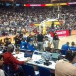 """Great seat for the second half and with live stats included hehe. Near of Dirk and the spanish speakers to my left. Also I tried to get information of the turkish reporter but the english is not my field by the moment hehe. Another anecdote: Do you see the """"yellow man"""" on the corner of the court? Two seats to the right is Kevin Durant"""
