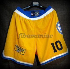 1998 Israeli League & Cup Champions Maccabi Tel Aviv Oded Kattash Shorts Front - MW