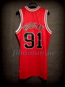 1998 NBA Finals Champions Chicago Bulls Dennis Rodman Jersey - Back
