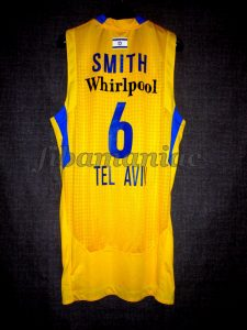 2012 ABA League Champions Maccabi Tel Aviv Devin Smith Jersey Back - MW