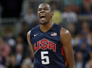 Kevin Durant in action with the jersey