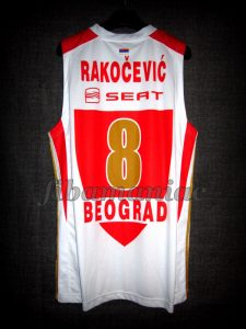 2013 Eurocup & Serbian Cup Champion Red Star Belgrade Igor Rakocevic Jersey Back - MW