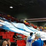 The Finland fans preparing the match. Incredible atmosphere thanks to them
