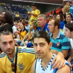 Me and my friend supporting Ukraine below Volkov. He was with Marciulionis the first sovietic in play in the NBA. I could assure that the black woman is the Pooh Jeter's mum hehe
