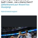 The only way to stop Markkanen in Helsinki. Put attention on the Koponen comments haha