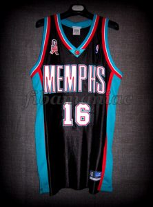 2002 NBA Rookie Of the Year Memphis Grizzlies Pau Gasol Jersey Front - Signed
