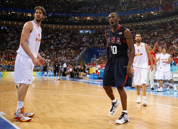 Pau Gasol, Kobe Bryant and Juan Carlos Navarro at the gold medal game