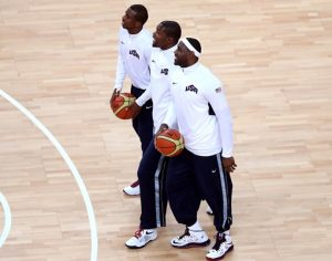 Durant and his teammates CP3 and Lebron before a game in the 2012 Olympic Games