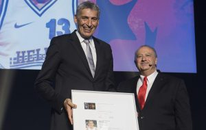 Fasoulas being inducted in the FIBA Hall of Fame