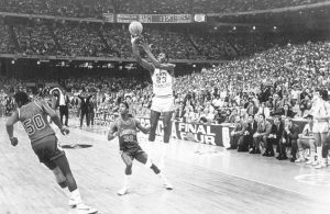 Michael making a decisive shot at the 1982 NCAA Final Four