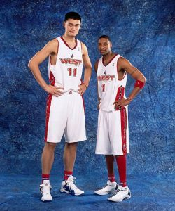 Tracy McGrady with his Rockets teammate Yao Ming