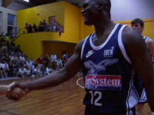 Dominique in action with the jersey