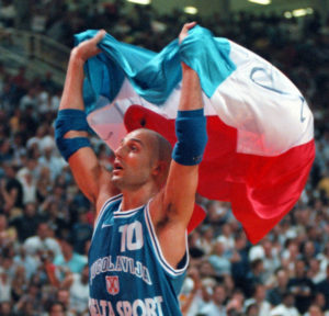 Sasha celebrating the victory in the 1998 World Cup
