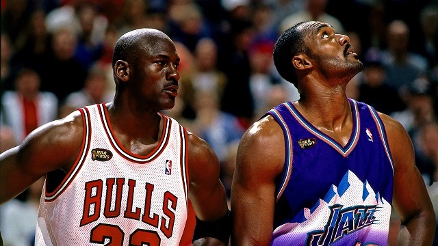 Michael Jordan and Karl Malone at the game 3 of the 1998 NBA Finals