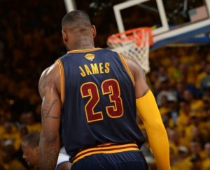 Lebron in action with the jersey