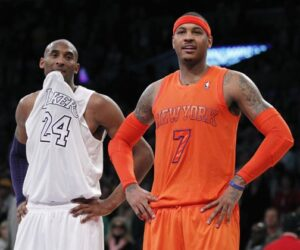Carmelo Anthony and Kobe Bryant during the 2012 NBA Christmas Day game