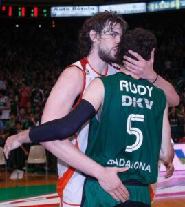 Rudy salutes Marc Gasol after a game. They would face each other again in the 2008 Eurocup Finals