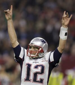 Tom Brady wearing the jersey during the LI Super Bowl. This game is remembered as one of the best comebacks in NFL history