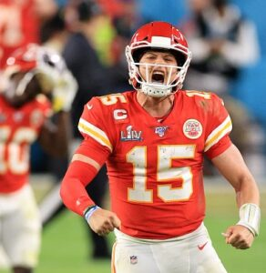 Patrick Mahomes wearing the jersey during the LIV Super Bowl